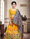 image of Art Silk Fabric Wedding Wear 3 Piece Lehenga In Yellow Color With Weaving Work