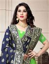 photo of Green Color Art Silk Fabric Reception Wear Lehenga Choli With Weaving Work