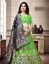 image of Art Silk Fabric Party Wear Lehenga Choli In Green Color With Weaving Work