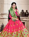 photo of Art Silk Fabric Rani Color Wedding Wear 3 Piece Lehenga Choli With Weaving Work