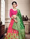 image of Art Silk Fabric Rani Color Wedding Wear 3 Piece Lehenga Choli With Weaving Work