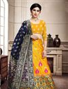 image of Yellow Color Designer Weaving Work Lehenga Choli In Art Silk Fabric With Alluring Blouse