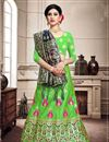 image of Art Silk Fabric Green Color Sangeet Wear 3 Piece Weaving Work Lehenga With Enigmatic Blouse