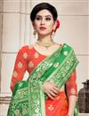photo of Weaving Work Occasion Wear Lehenga In Salmon Color Art Silk Fabric