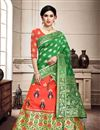 image of Weaving Work Occasion Wear Lehenga In Salmon Color Art Silk Fabric