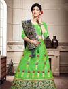 image of Art Silk Fabric Reception Wear Lehenga Choli In Green Color With Weaving Work