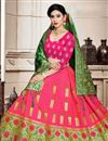 photo of Art Silk Fabric Rani Color Festive Wear 3 Piece Lehenga Choli