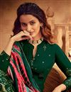 photo of Dark Green Color Viscose Fabric Function Wear Embroidered Palazzo Suit