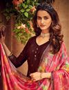 photo of Embroidery Work Brown Color Viscose Fabric Palazzo Salwar Suit