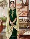 image of Sangeet Function Wear Dark Green Elegant Velvet Fabric Embroidered Palazzo Dress