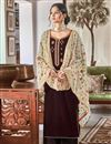 image of Sangeet Function Wear Elegant Brown Embroidered Velvet Fabric Palazzo Dress
