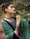 photo of Sangeet Wear Elegant Navy Blue Color Embroidered Velvet Fabric Palazzo Dress