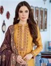 photo of Fancy Cotton Silk Casual Style Embroidered Mustard Suit