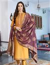 image of Fancy Cotton Silk Casual Style Embroidered Mustard Suit