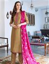 image of Fancy Cotton Silk Casual Style Beige Embroidered Salwar Kameez