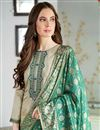 photo of Cream Fancy Embroidered Casual Wear Salwar Kameez In Cotton Silk