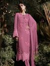 image of Pink Georgette Straight Cut Fancy Embroidered Suit With Pants