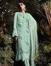 image of Designer Party Wear Straight Suit In Georgette Light Cyan With Pants