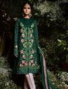 image of Georgette Straight Cut Embroidered Designer Suit With Pants
