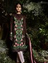 image of Ready To Ship Dark Brown Georgette Straight Cut Embellished Dress With Pants