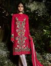 image of Party Wear Embroidered Straight Suit In Crimson With Pants