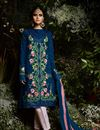 image of Navy Blue Georgette Straight Cut Embellished Dress With Pants