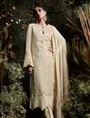 image of Cream Georgette Festive Wear Suit With Pants