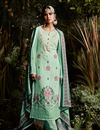 image of Georgette Party Wear Salwar Suit In Sea Green With Pants