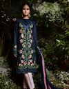 image of Georgette Party Wear Salwar Suit In Navy Blue With Pants