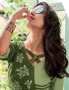 photo of Sea Green Party Wear Rayon Fabric Thread Embroidered Gown Style Kurti