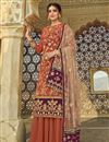 image of Peach Color Function Wear Fancy Embroidered Georgette Fabric Sharara Dress