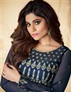 picture of Shamita Shetty Function Wear Net Fabric Embroidered Navy Blue Color Anarkali Suit