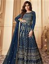 image of Shamita Shetty Function Wear Net Fabric Embroidered Navy Blue Color Anarkali Suit