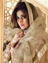 picture of Shamita Shetty Function Wear Net Fabric Embroidered Anarkali Dress In Beige Color