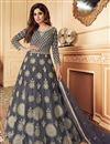 image of Shamita Shetty Net Fabric Function Wear Embroidered Grey Color Anarkali Suit