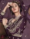 photo of Sangeet Wear Net Fabric Embroidered Gown Style Anarkali Suit In Wine Color