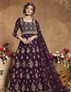 image of Sangeet Wear Net Fabric Embroidered Gown Style Anarkali Suit In Wine Color