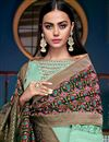 photo of Art Silk Fabric Designer Embroidered Palazzo Salwar Kameez In Light Cyan Color
