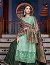image of Art Silk Fabric Designer Embroidered Palazzo Salwar Kameez In Light Cyan Color