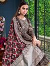 photo of Occasion Wear Satin Fabric Embroidered Palazzo Salwar Kameez In Wine Color