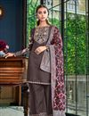 image of Occasion Wear Satin Fabric Embroidered Palazzo Salwar Kameez In Wine Color