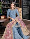 photo of Art Silk Fabric Embroidered Light Blue Color Party Wear Palazzo Salwar Kameez