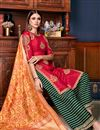 photo of Red Color Art Silk Fabric Function Wear Palazzo Salwar Kameez With Embroidery Designs