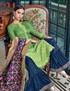 photo of Satin Fabric Green Color Occasion Wear Palazzo Suit With Embroidery Work