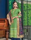 image of Satin Fabric Green Color Occasion Wear Palazzo Suit With Embroidery Work