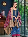 image of Navy Blue Color Satin Fabric Festive Wear Palazzo Salwar Kameez With Embroidery Work