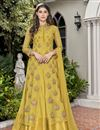 image of Designer Fancy Fabric Embroidered Function Wear Gown In Yellow