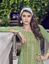photo of Eid Special Net Fabric Designer Function Wear Embroidered Sea Green Sharara Suit