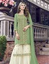 image of Eid Special Net Fabric Designer Function Wear Embroidered Sea Green Sharara Suit