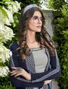 photo of Eid Special Crepe Designer Function Wear Grey Embroidered Indo Western Suit